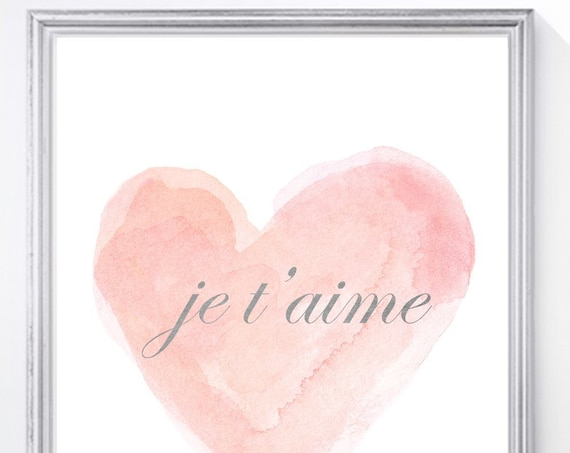 Je t'aime Blush and Gold Nursery Print, 11x14