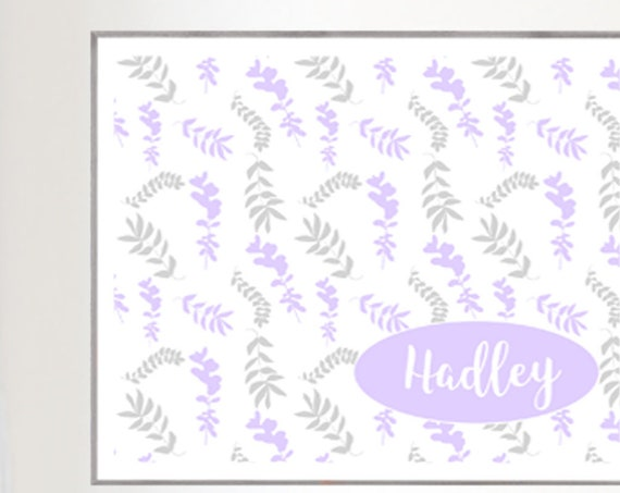 Lavender and Gray Girls Print with Ferns and Custom Name, 16x20