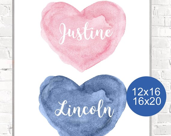 Girl Boy Room Decor, 12x16, 16x20 Personalized Heart Print