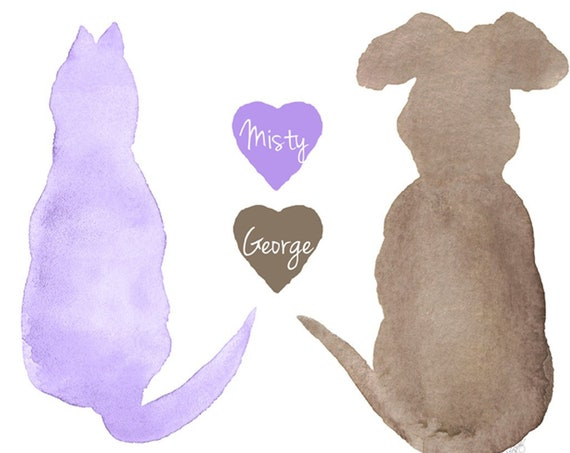Cat and Dog Gift, 8x10 Animal Lover Print
