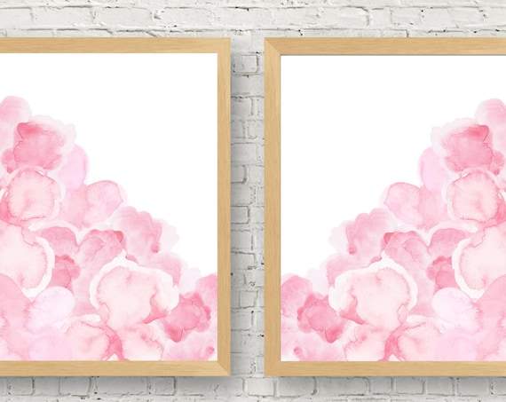 Pink Flower Print Set, 11x14 Set of 2 inT Colors