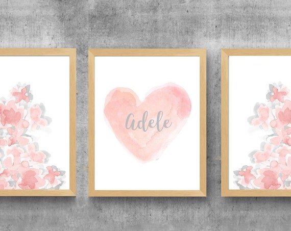 Blush and Gray Prints for Girls Room, Set of 3-11x14 Watercolor Prints