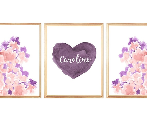 Blush and Plum Flower Prints, 11x14- Set of 3 with Personalized Heart