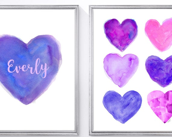 Purple and Pink Wall Decor, Set 2-8x10 Personalized Watercolor Heart Prints