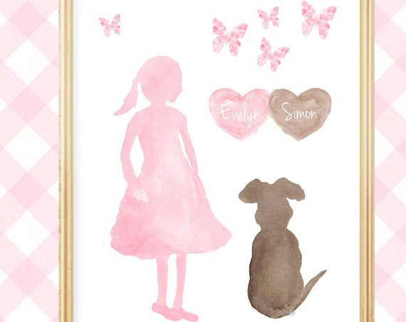 Girl and Dog Print Personalized with Names for Girls Room