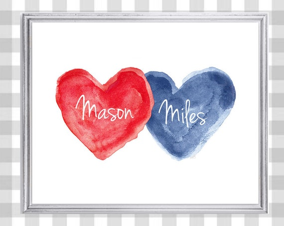 Brothers Print in Red and Blue for Kids Room, 8x10