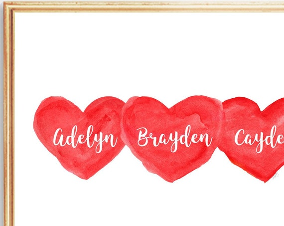 Triplets Gift, 8x10 Personalized Hearts Print in Red