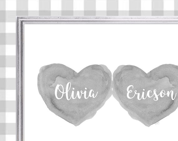 Personalized Boys Baby Gift, 8x10 Gray Nursery Print