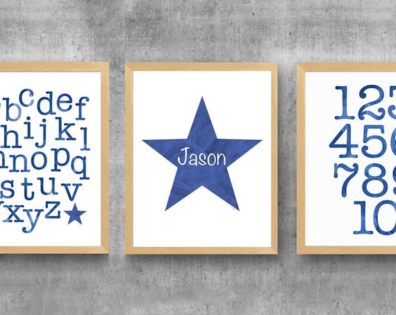 Blue ABC 123 Wall Decor, 11x14 Set of 3 Playroom Prints with Personalized Star