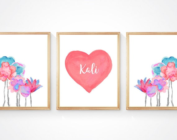 Boho Flower Prints, 11x14-Set of 3 Prints with Personalized Heart