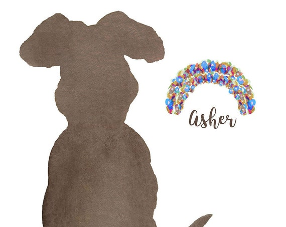 Dog with Floral Rainbow Bridge; Personalized Gift for Dog Lover
