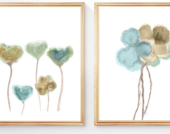 Natural and Blue Wall Decor, Set of 2-8x10 Watercolor Flower Prints