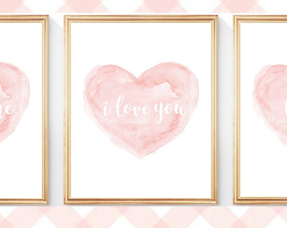 I Love You, Je t'aime, Te Amo Nursery Print Set, 5x7, 8x10 Set of 3
