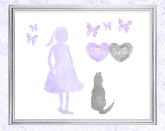 Little Girl with Cat Print; Personalized with Names in 8x10