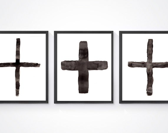 Southwestern Cross Prints, 8x10 Set of 3 Black and White Watercolor Art Prints