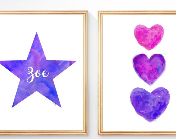 Purple Star and Hearts for Girls Room, 8x10 Personalized Set of 2 Watercolor Prints