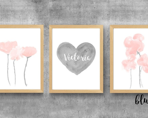 Gray and Blush Nursery Prints, Set of 3-11x14, Watercolor Flowers and Personalized Heart