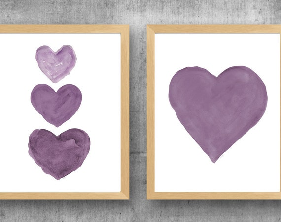 Plum Watercolor Heart  Prints, 11x14 Set of 2