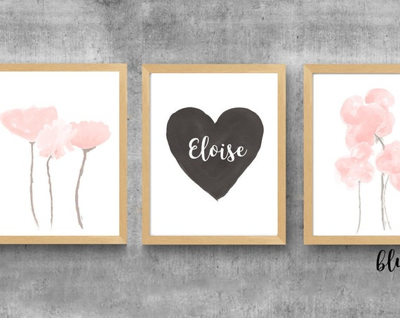 Black and Blush Nursery Prints, Set of 3-11x14, Watercolor Flowers for Girls Room