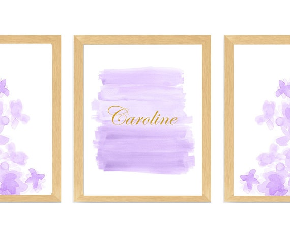 Lavender Nursery Wall Art, Set of 3, Girls Personalized Prints