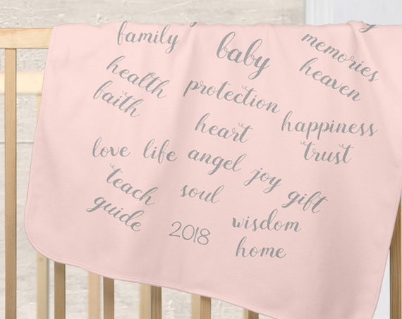 Mother's Blessing Blanket; Blush and Gray Baby Blanket with Custom Date