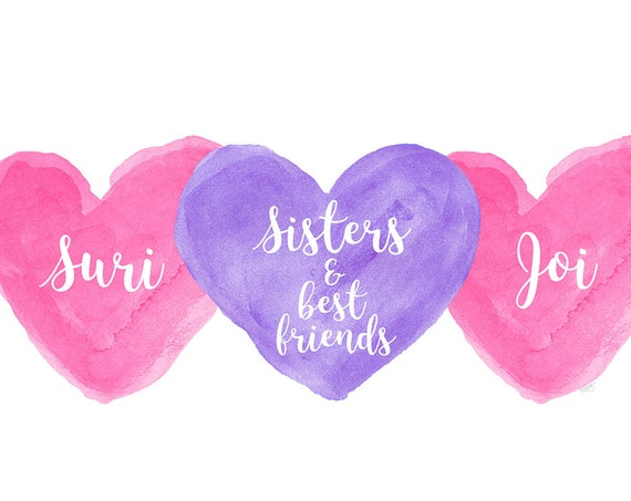 Sisters and Best Friends Gift, Personalized Hearts Print