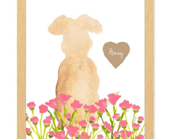 Dog in Flower Garden, Dog Garden Memorial, Dog Loss Gift, Dog Memorial Gift, Mother's Day Gift, Personalized Gift for Mom, Dog Sympathy Gift