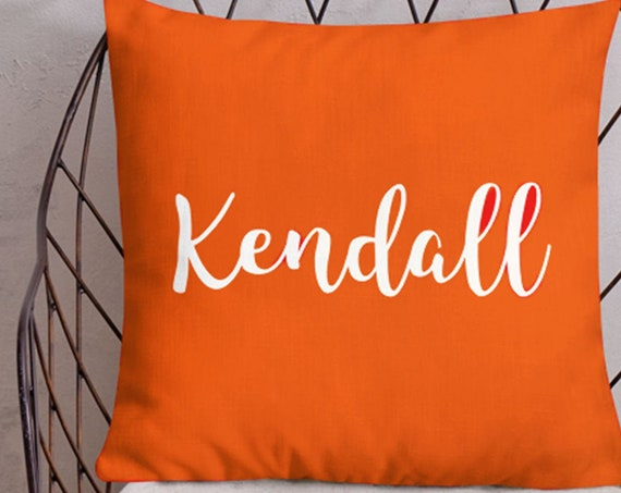 Playroom Pillow in Orange with Personalized Name, 18x18