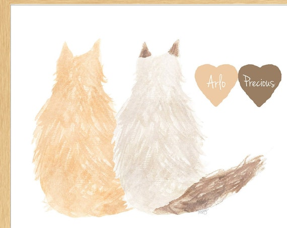 Two Long Hair Cats, Personalized Memorial Artwork