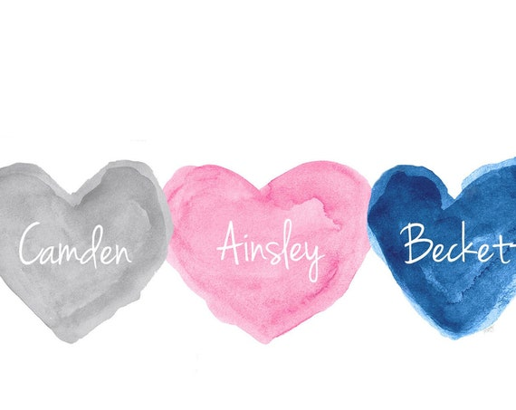 Gift for Triplets; Multi Colored Heart Print Personalized with Names, 8x10