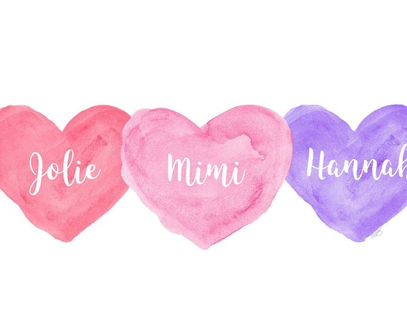 Three Sisters Gift in Pink and Purple, 8x10 Personalized Hearts Print
