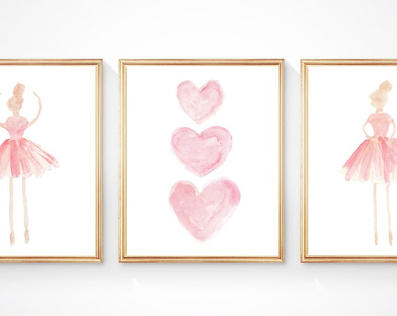 Girls Ballet Decor; Pink Ballerina and Hearts, Set of 3 Prints