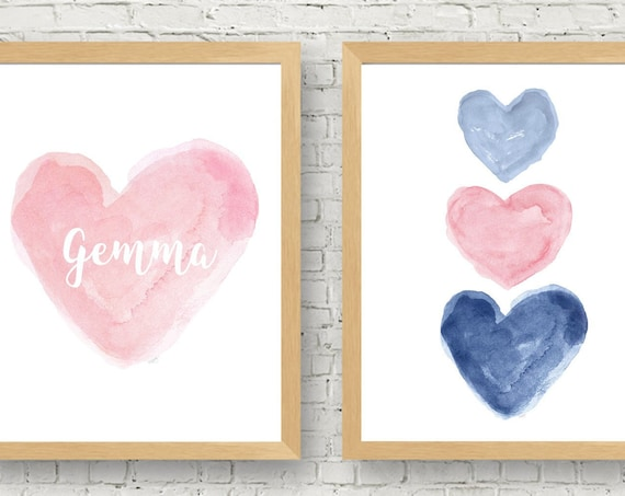 Pink and Navy Print Set, Set of 2 Personalized Watercolor Art Prints