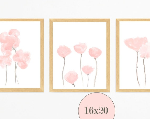 Blush Flowers Wall Decor, 16x20 Set of 3 Prints for Bedroom