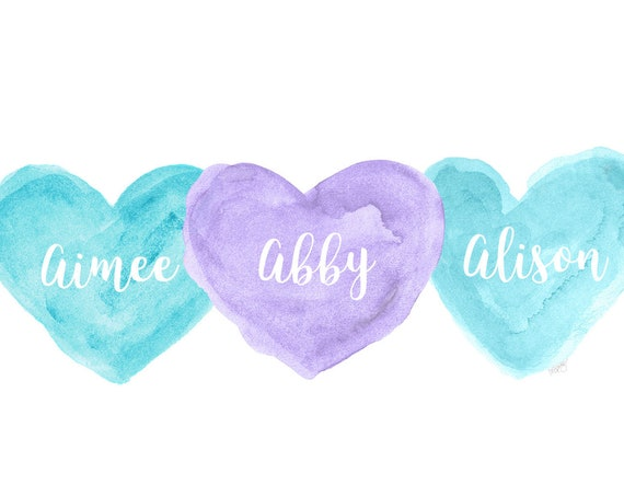 Turquoise and Purple Nursery Art, 8x10 Personalized Print