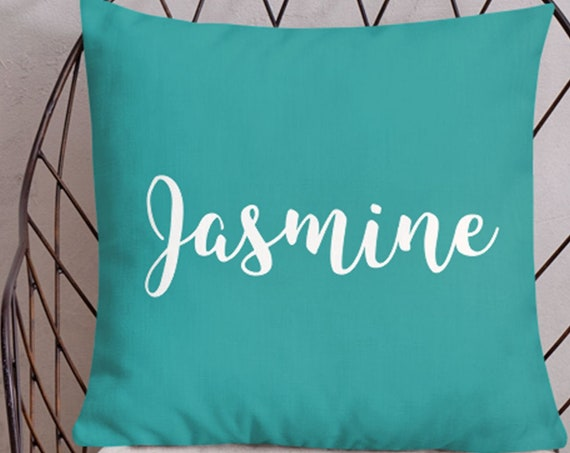 Teal Name Pillow for Girls, 18x18