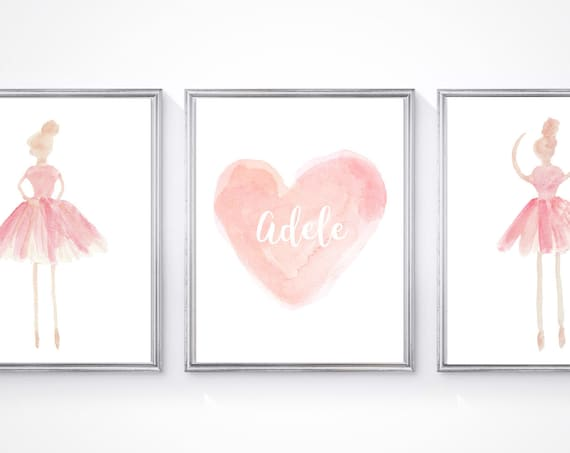 Ballerina Prints for Girls Room, Set of 3-11x14 Personalized Watercolor Prints