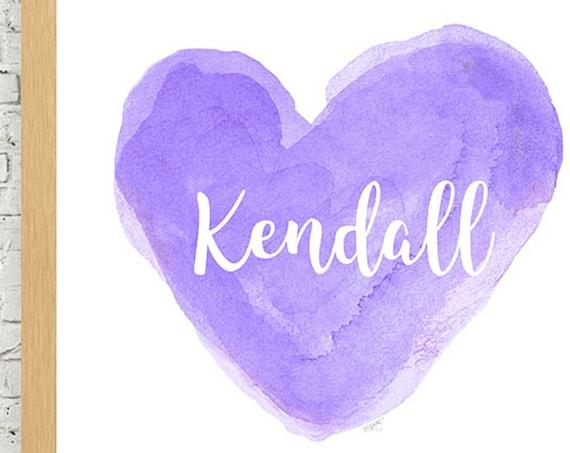 Personalized Purple Heart Nursery Print