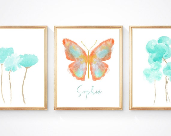 Coral and Aqua Girls Wall Decor, Set of 3 Abstract Butterfly and Flower Prints for Tween Bedroom