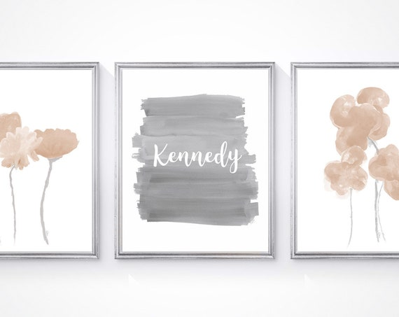 Neutral Baby Nursery Decor, Set of 3 Botanical Prints with Custom Name
