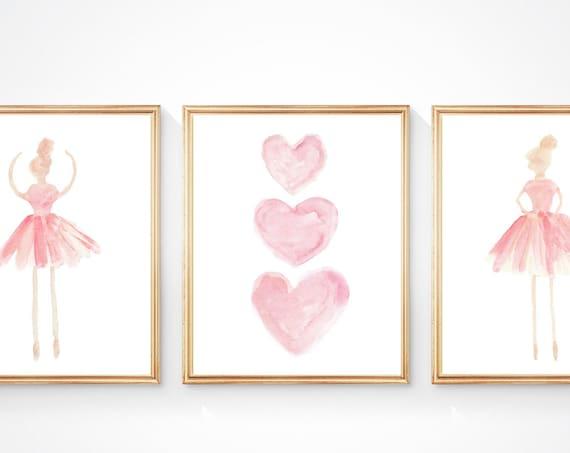 Ballet Wall Art, 11x14 Set of 3 Prints in Blush