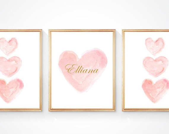 Blush and Gold Personalized Baby Prints, Set of 3 - 8x10 with Gold Name