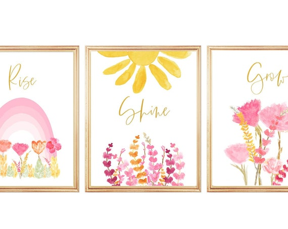 Rise and Shine Print Set of 3 Contemporary Pink Floral Girls Bedroom Prints