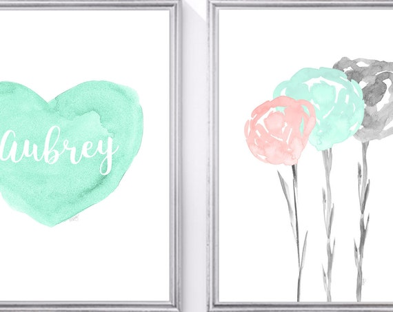 Blush and Seafoam Green Girls Prints, Set of 2-8x10 or 11x14