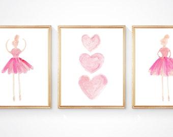 Ballet Prints, 8x10 Set of 3, Ballerina Art, Girls Ballerina Prints, Pink Ballet Nursery, Ballerina Decor, Dancer Prints, Ballerina Nursery