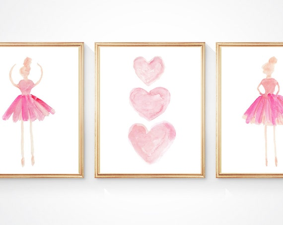 Ballet Nursery Prints, 8x10 set of 3 in 4 colors
