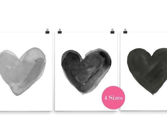 Black and Gray Hearts, 16x20 Set of 3 Prints