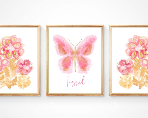 Modern Butterfly and Floral Print Set for Girls Room, (3)