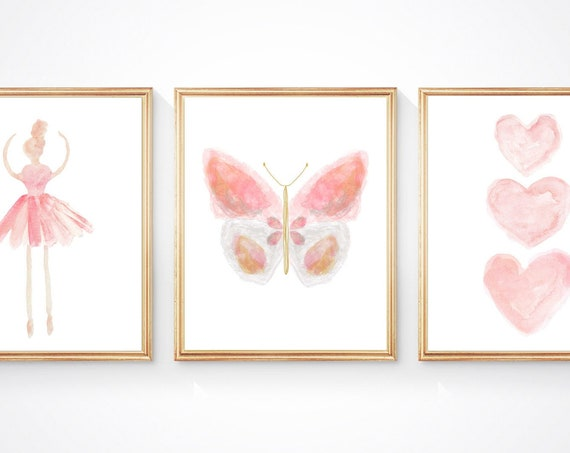 Blush Butterfly and Ballerina Print Set of 3 for Young Girls Bedroom