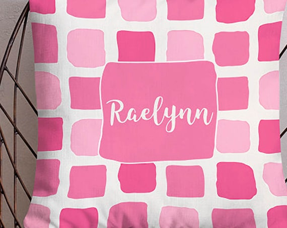 Pink Watercolor Swatch Pillow with Personalized Name, 18x18